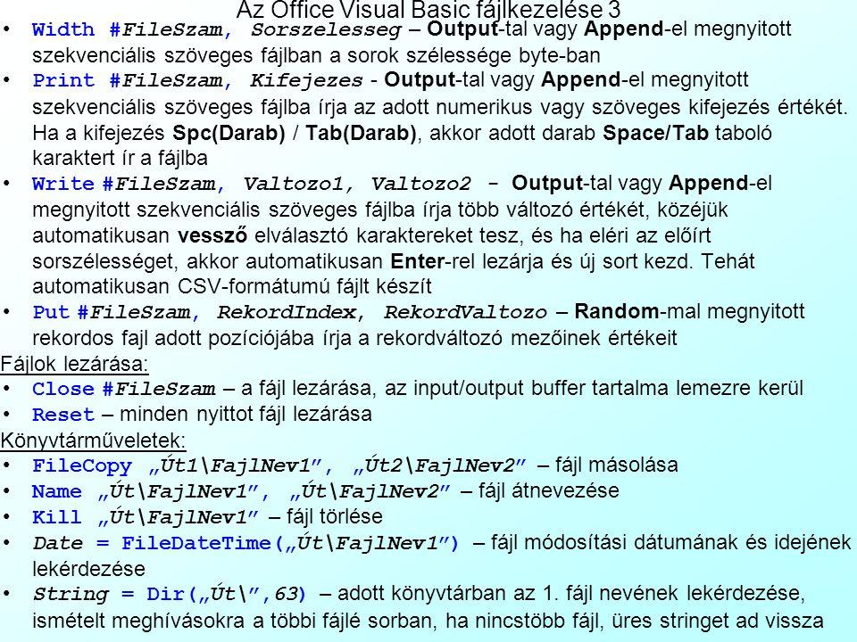 Az Office Visual Basic fájlkezelése 3