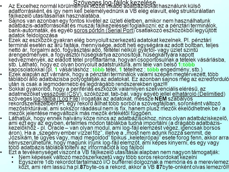 Szöveges log-fájlok kezelése