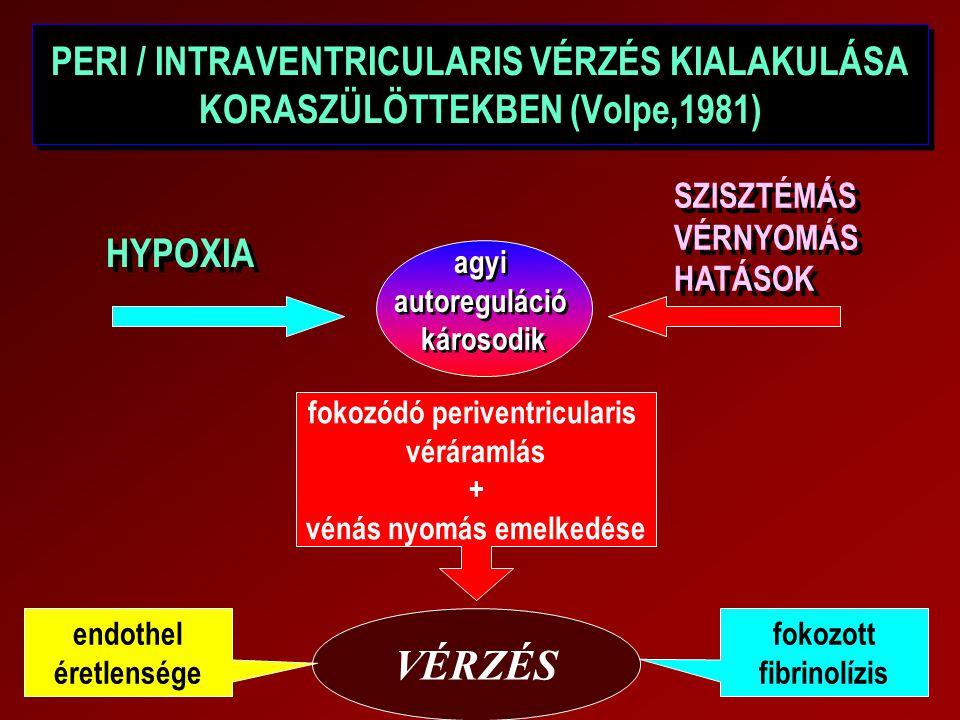 PERI / INTRAVENTRICULARIS VÉRZÉS KIALAKULÁSA KORASZÜLÖTTEKBEN (Volpe,1981)