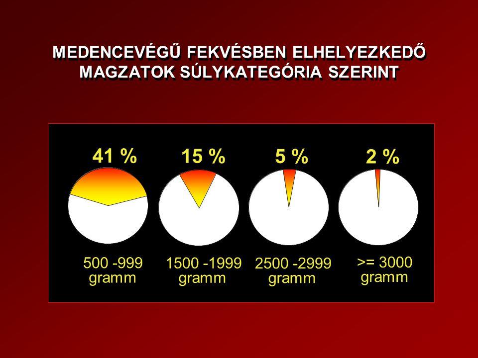MEDENCEVÉGŰ FEKVÉSBEN ELHELYEZKEDŐ MAGZATOK SÚLYKATEGÓRIA SZERINT