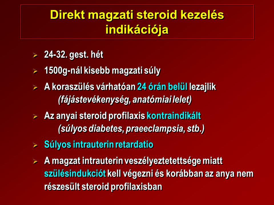 Direkt magzati steroid kezelés indikációja