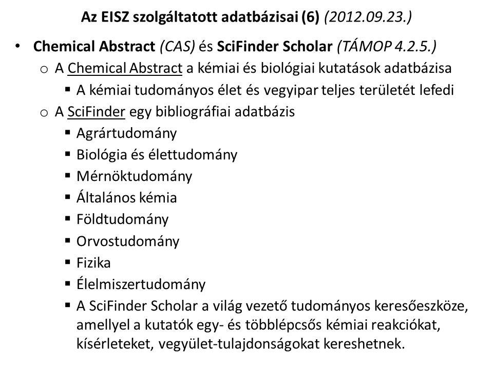Az EISZ szolgáltatott adatbázisai (6) (2012.09.23.)
