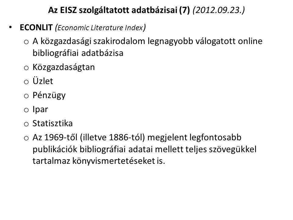 Az EISZ szolgáltatott adatbázisai (7) (2012.09.23.)