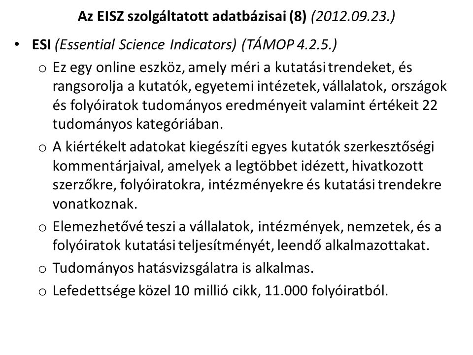 Az EISZ szolgáltatott adatbázisai (8) (2012.09.23.)