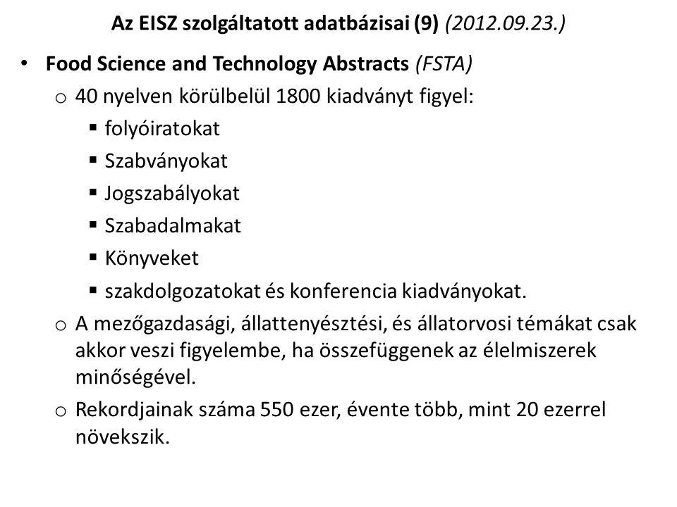 Az EISZ szolgáltatott adatbázisai (9) (2012.09.23.)