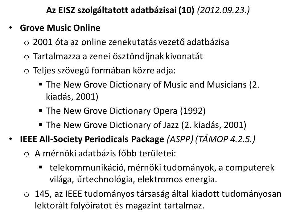 Az EISZ szolgáltatott adatbázisai (10) (2012.09.23.)