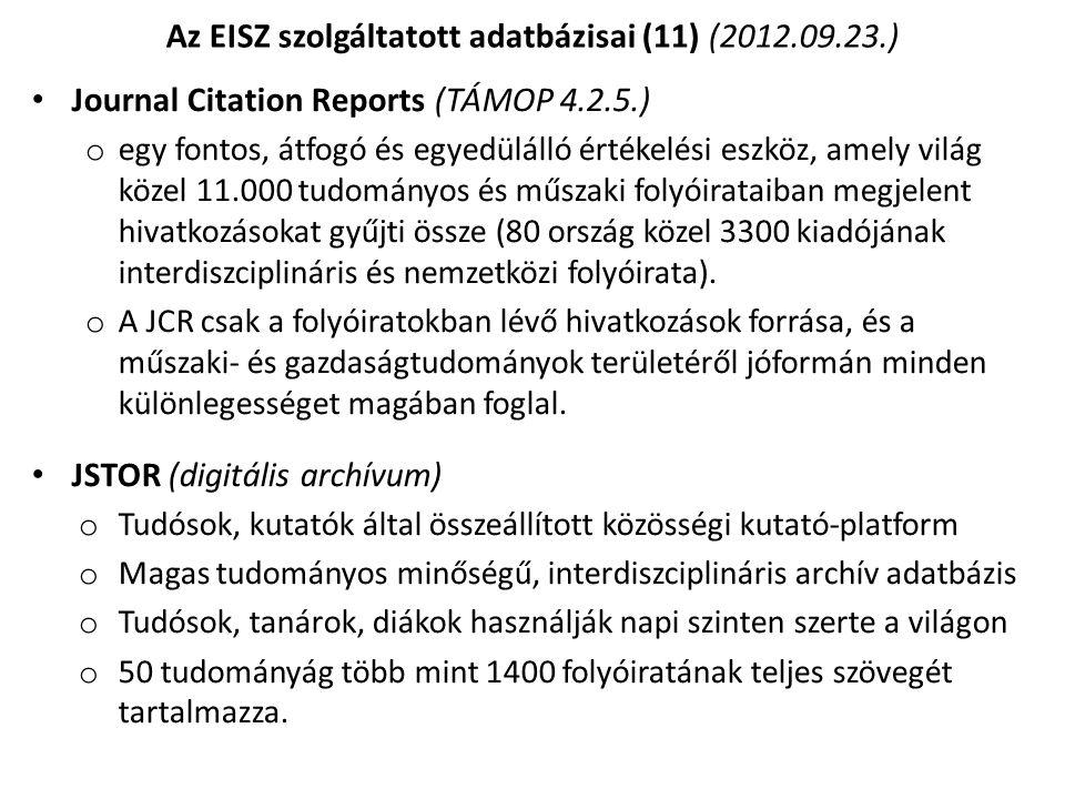 Az EISZ szolgáltatott adatbázisai (11) (2012.09.23.)