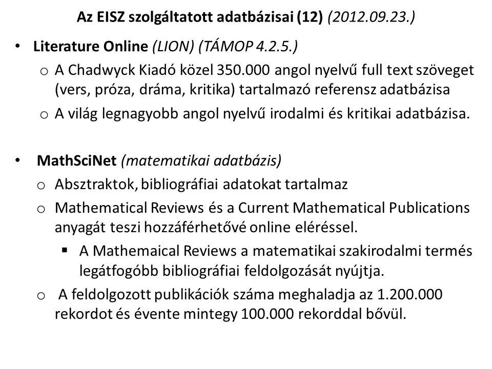 Az EISZ szolgáltatott adatbázisai (12) (2012.09.23.)