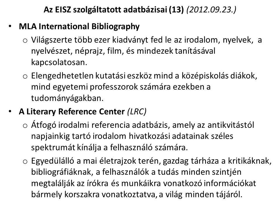 Az EISZ szolgáltatott adatbázisai (13) (2012.09.23.)