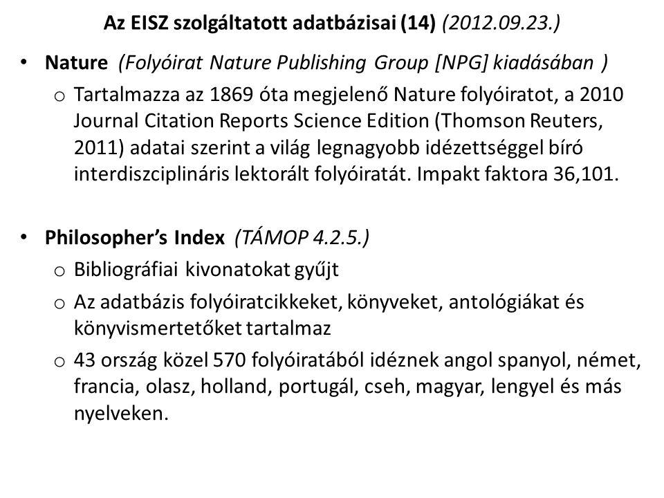 Az EISZ szolgáltatott adatbázisai (14) (2012.09.23.)
