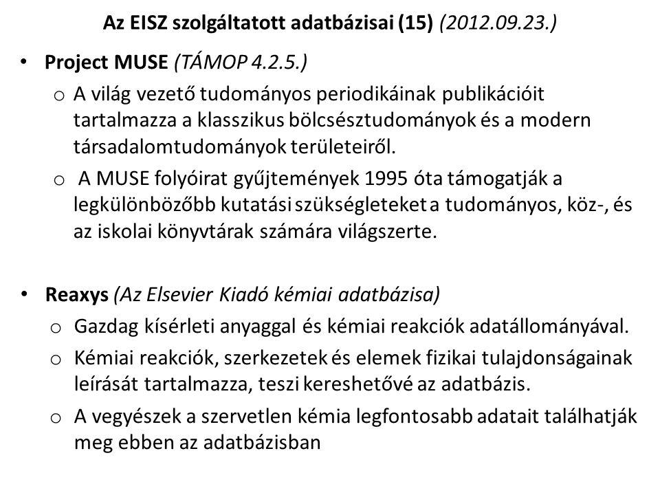 Az EISZ szolgáltatott adatbázisai (15) (2012.09.23.)