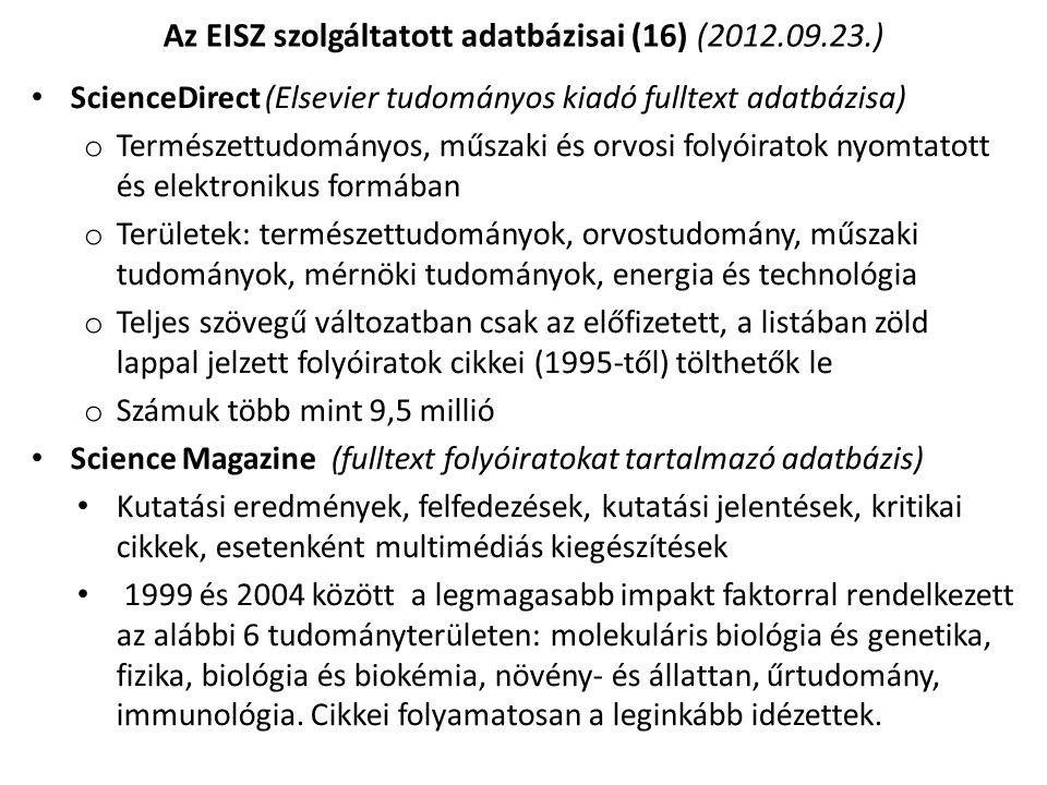 Az EISZ szolgáltatott adatbázisai (16) (2012.09.23.)
