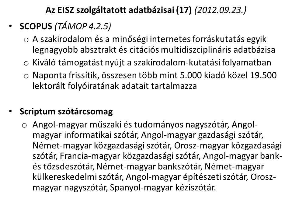Az EISZ szolgáltatott adatbázisai (17) (2012.09.23.)