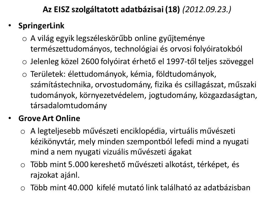 Az EISZ szolgáltatott adatbázisai (18) (2012.09.23.)