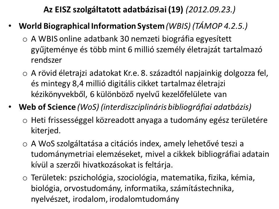 Az EISZ szolgáltatott adatbázisai (19) (2012.09.23.)