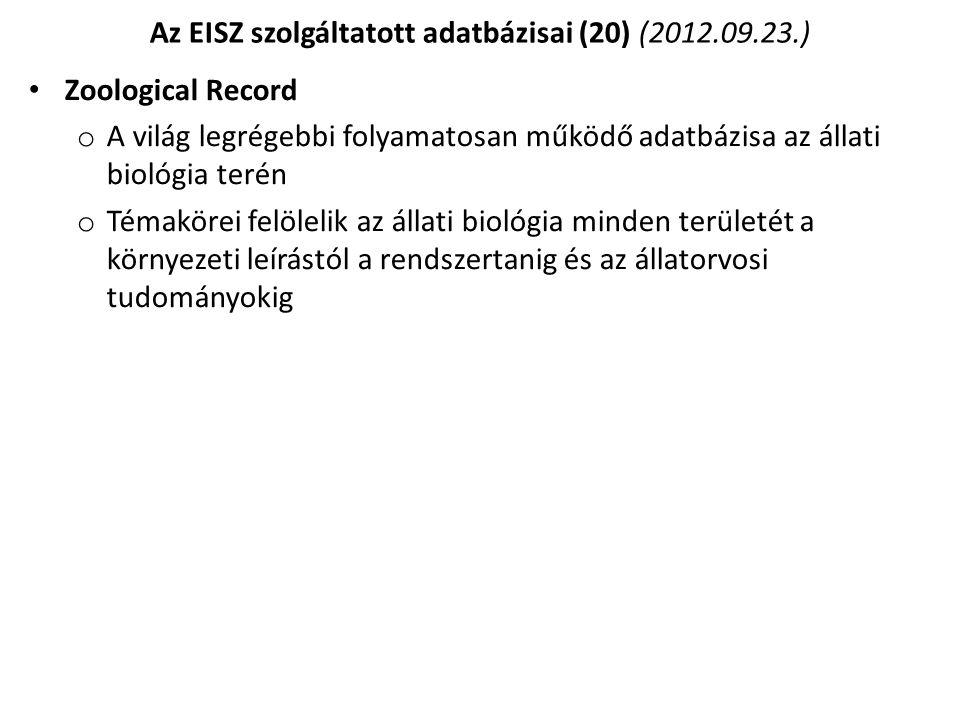 Az EISZ szolgáltatott adatbázisai (20) (2012.09.23.)