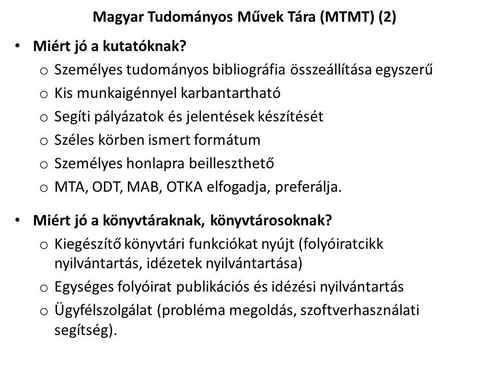Magyar Tudományos Művek Tára (MTMT) (2)