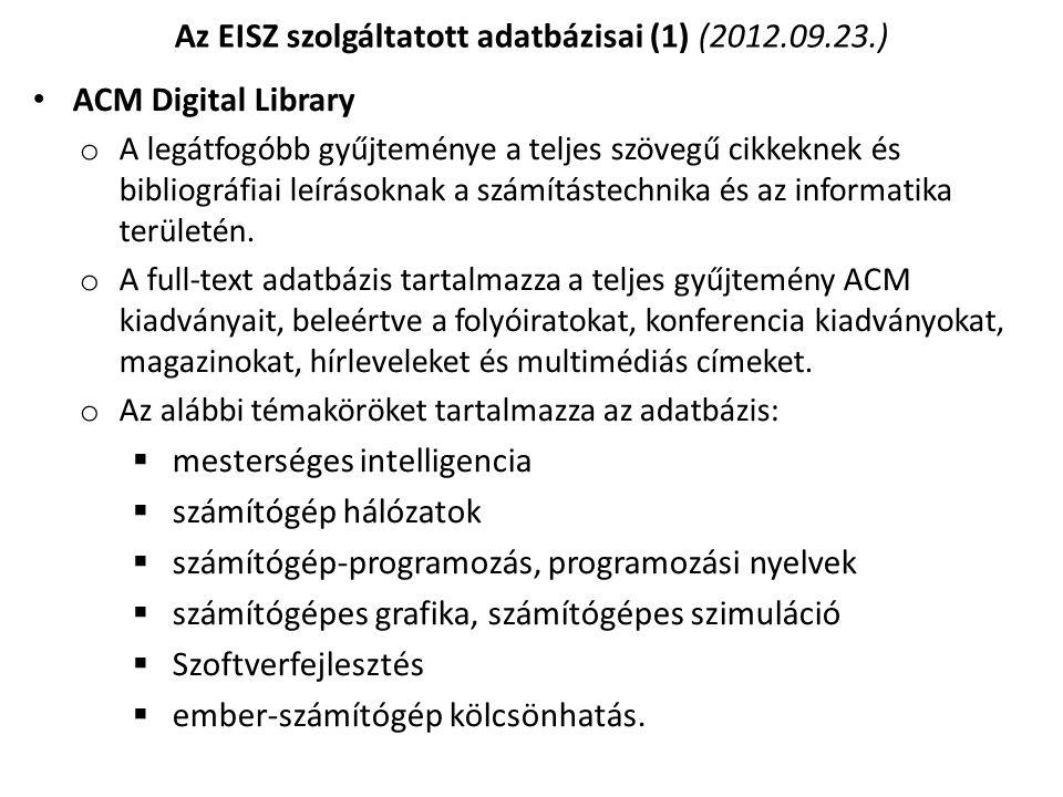 Az EISZ szolgáltatott adatbázisai (1) (2012.09.23.)