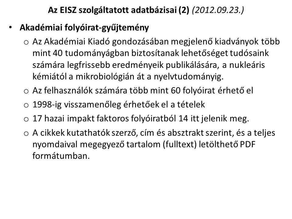 Az EISZ szolgáltatott adatbázisai (2) (2012.09.23.)