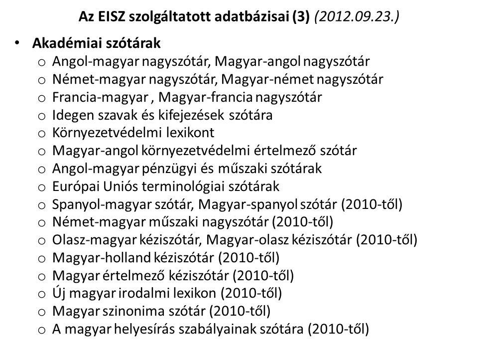 Az EISZ szolgáltatott adatbázisai (3) (2012.09.23.)