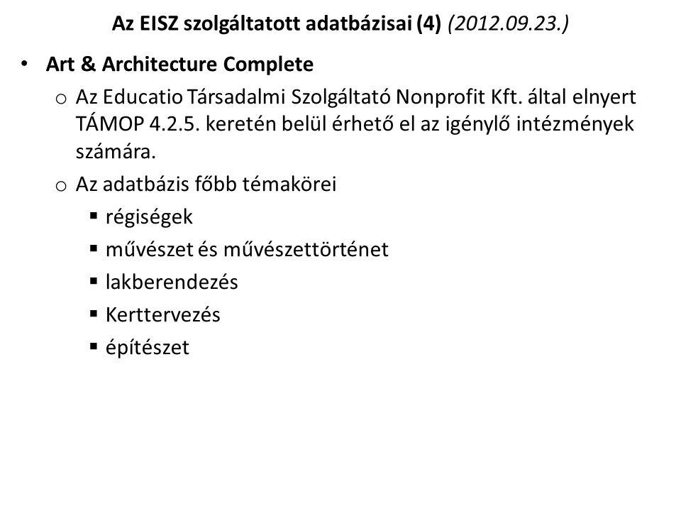 Az EISZ szolgáltatott adatbázisai (4) (2012.09.23.)