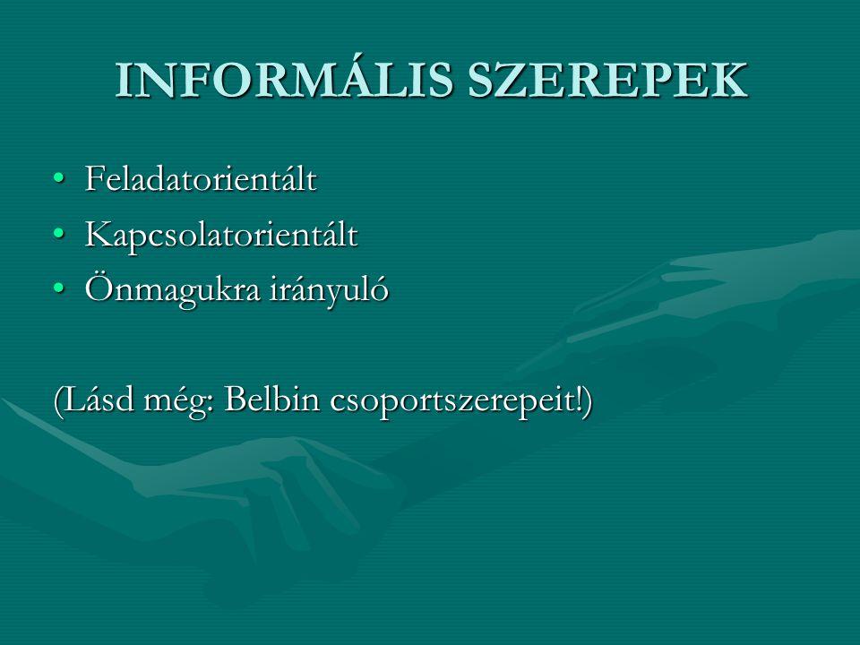 INFORMÁLIS SZEREPEK Feladatorientált Kapcsolatorientált