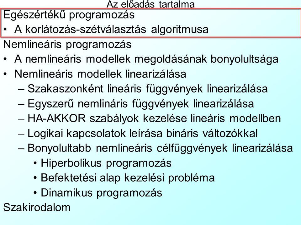 Egészértékű programozás A korlátozás-szétválasztás algoritmusa