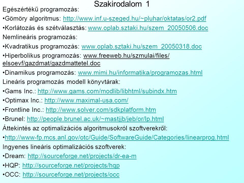 Szakirodalom 1 Egészértékű programozás: