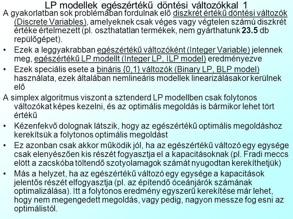 LP modellek egészértékű döntési változókkal 1