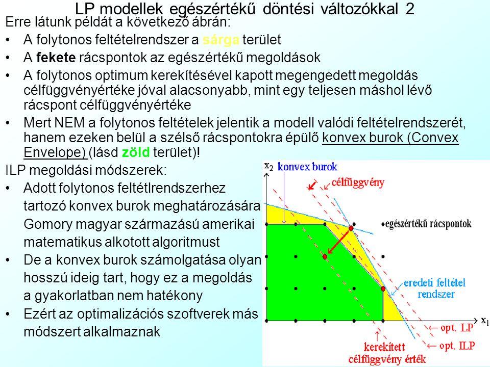 LP modellek egészértékű döntési változókkal 2