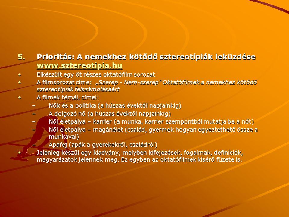 Prioritás: A nemekhez kötődő sztereotípiák leküzdése www. sztereotipia