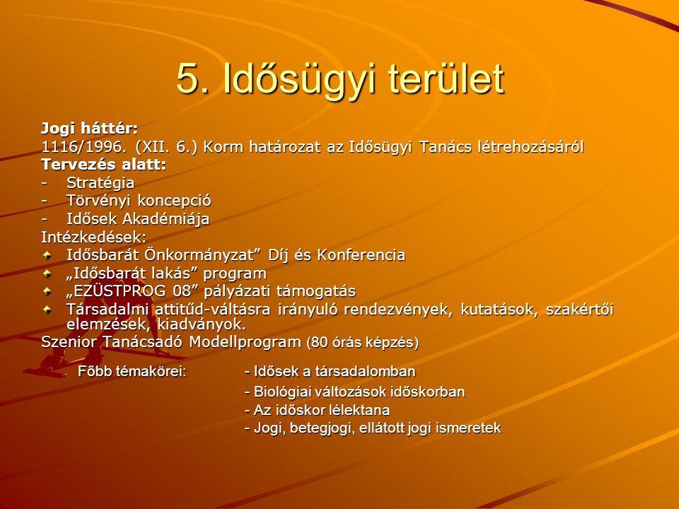 5. Idősügyi terület Főbb témakörei: - Idősek a társadalomban