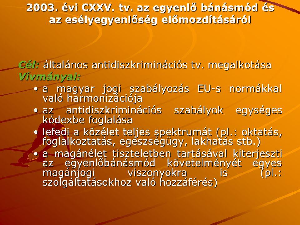2003. évi CXXV. tv. az egyenlő bánásmód és az esélyegyenlőség előmozdításáról