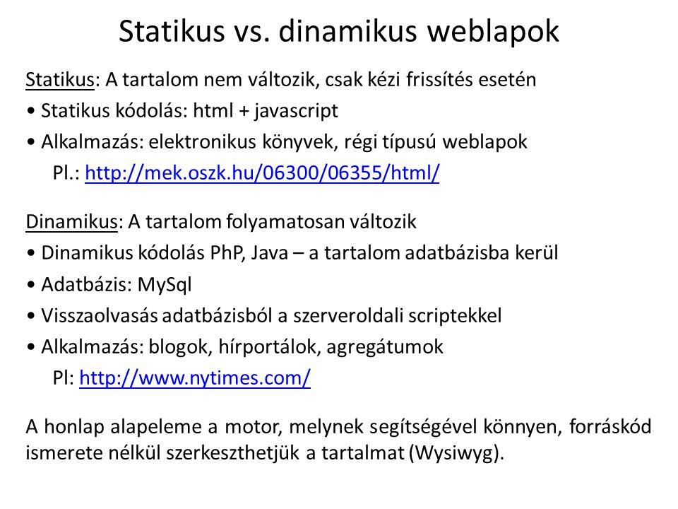 Statikus vs. dinamikus weblapok
