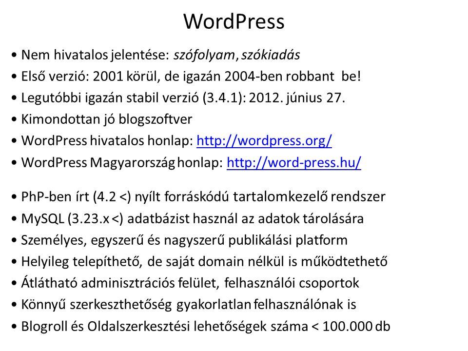 WordPress Nem hivatalos jelentése: szófolyam, szókiadás