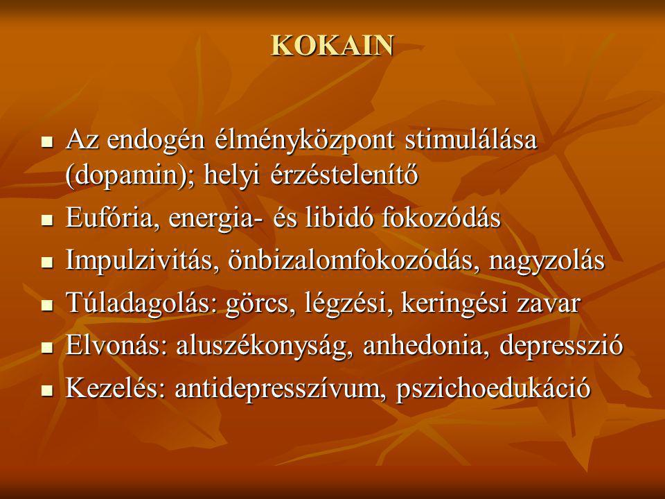 KOKAIN Az endogén élményközpont stimulálása (dopamin); helyi érzéstelenítő. Eufória, energia- és libidó fokozódás.