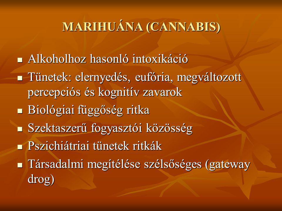 MARIHUÁNA (CANNABIS) Alkoholhoz hasonló intoxikáció. Tünetek: elernyedés, eufória, megváltozott percepciós és kognitív zavarok.