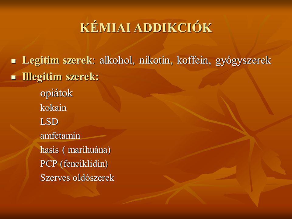KÉMIAI ADDIKCIÓK Legitim szerek: alkohol, nikotin, koffein, gyógyszerek. Illegitim szerek: opiátok.