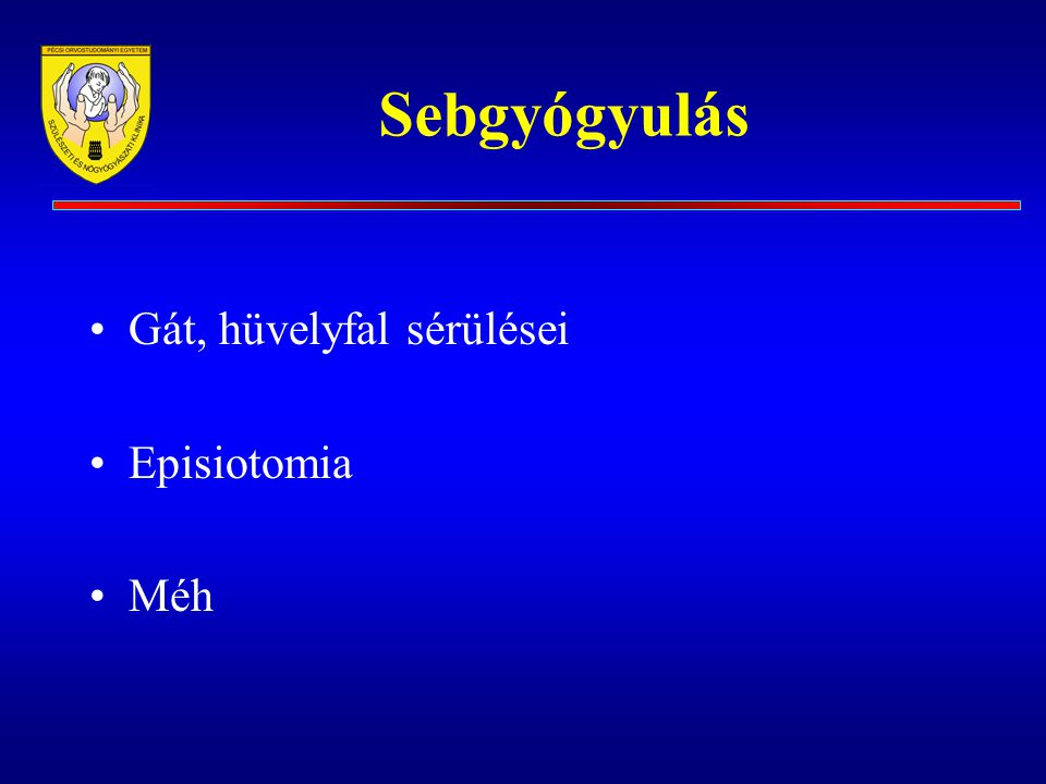Sebgyógyulás Gát, hüvelyfal sérülései Episiotomia Méh
