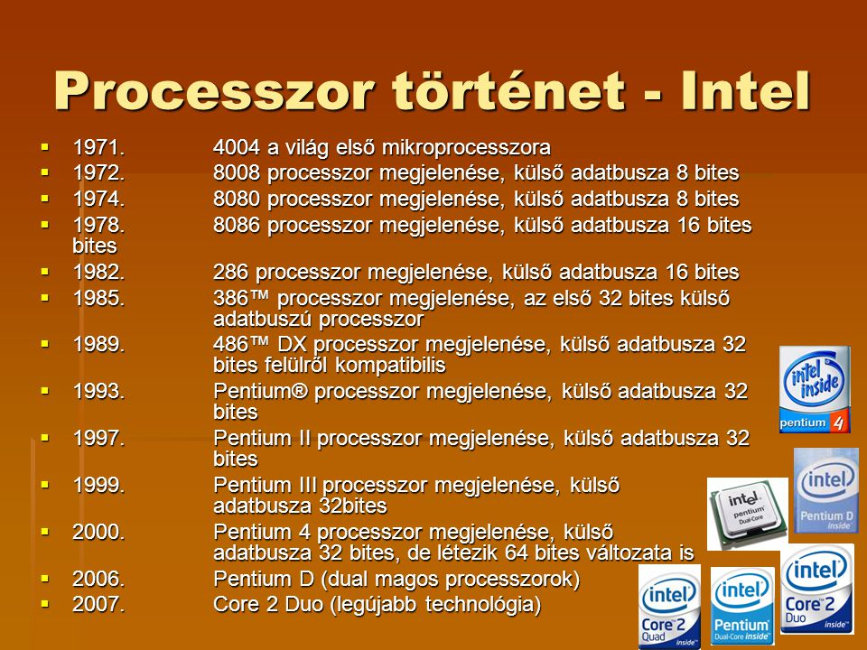Processzor történet - Intel