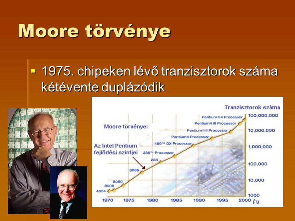 Moore törvénye 1975. chipeken lévő tranzisztorok száma kétévente duplázódik