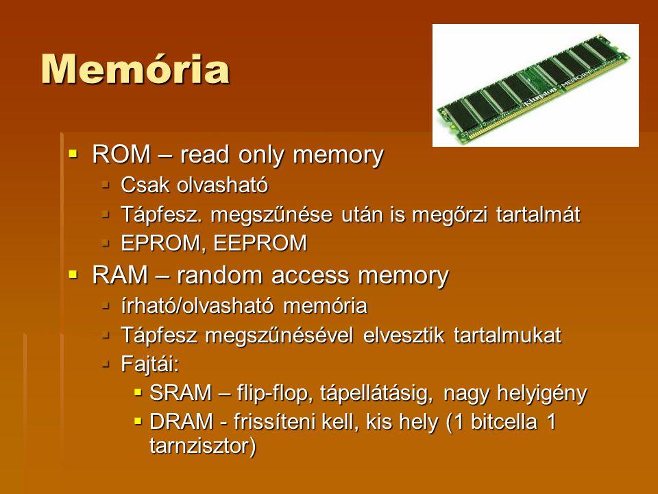 Memória ROM – read only memory RAM – random access memory