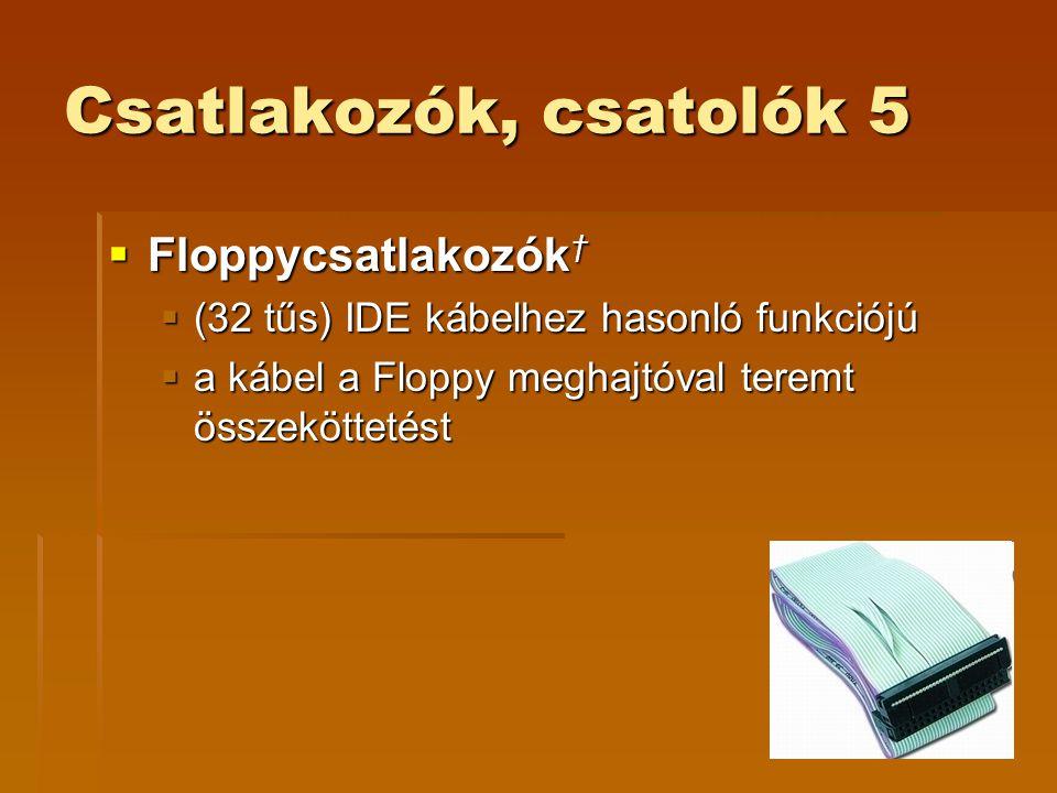 Csatlakozók, csatolók 5 Floppycsatlakozók†