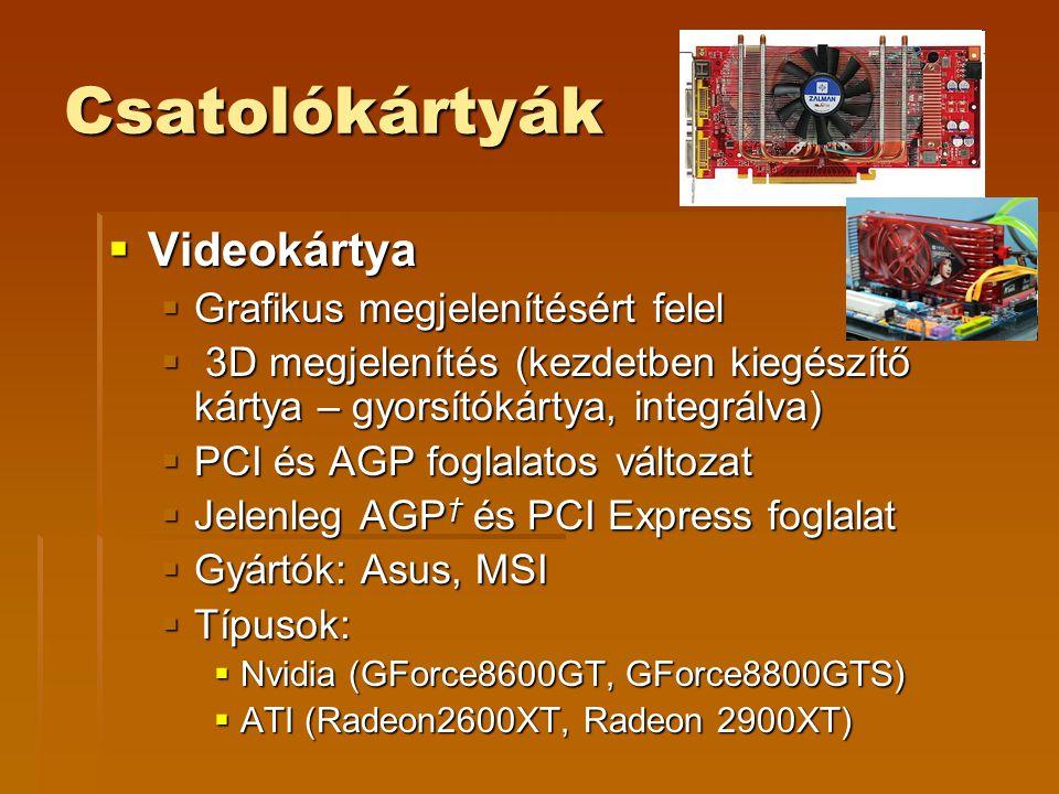 Csatolókártyák Videokártya Grafikus megjelenítésért felel