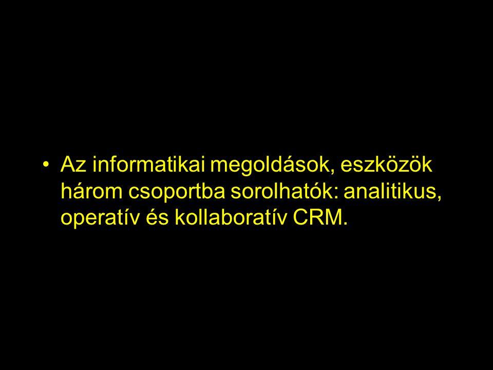 Az informatikai megoldások, eszközök három csoportba sorolhatók: analitikus, operatív és kollaboratív CRM.