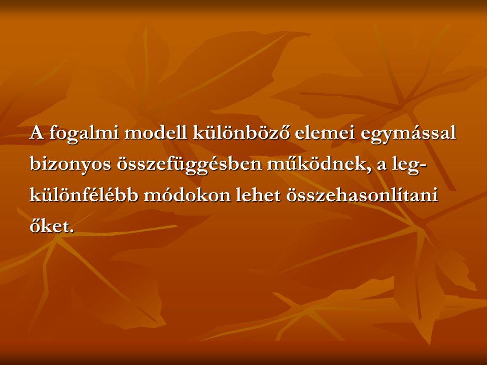 A fogalmi modell különböző elemei egymással