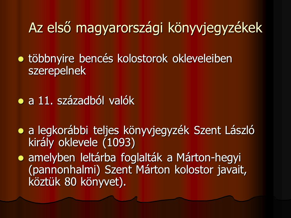 Az első magyarországi könyvjegyzékek