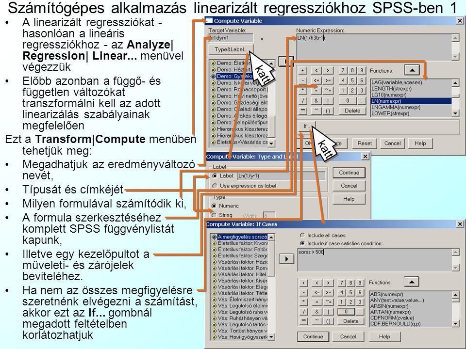 Számítógépes alkalmazás linearizált regressziókhoz SPSS-ben 1