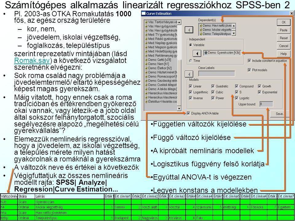 Számítógépes alkalmazás linearizált regressziókhoz SPSS-ben 2
