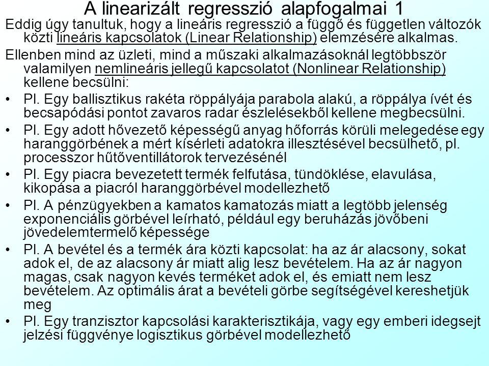 A linearizált regresszió alapfogalmai 1